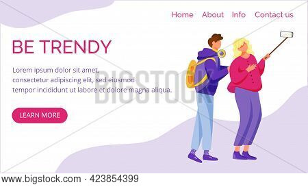 Be Trendy Landing Page Vector Template. Teenager Culture Website Interface Idea With Flat Illustrati