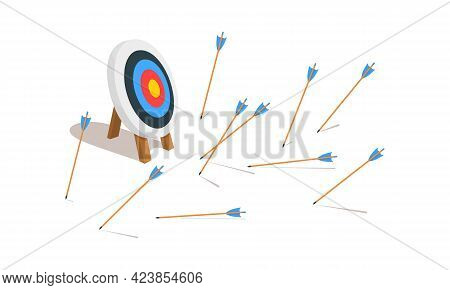 Archery Target Ring With Many Missed Arrows. Business Goal Failure Symbol. Mistake Strategy Concept.
