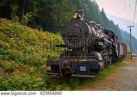 Sandon, British Columbia, Canada - August 24, 2018. Cpr Steam Engine 6947 Sandon. The Historic Cpr S