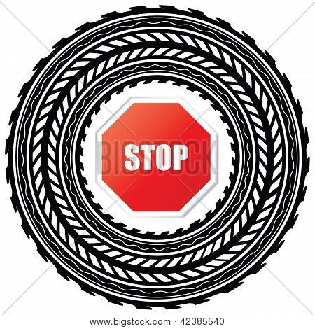 Tire Track With Stop Sign