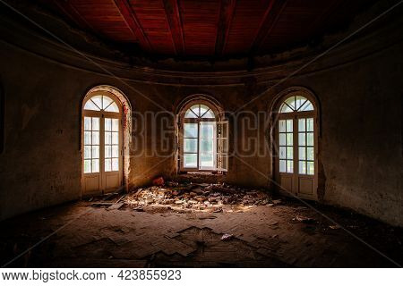 Old Ruined Abandoned Historical Mansion, Inside View.