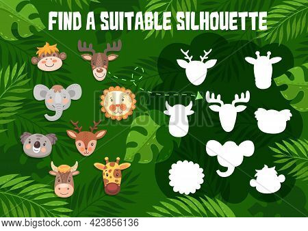 Kids Game Find A Suitable Silhouette With Cute Animals. Shadow Match Vector Riddle For Children Logi