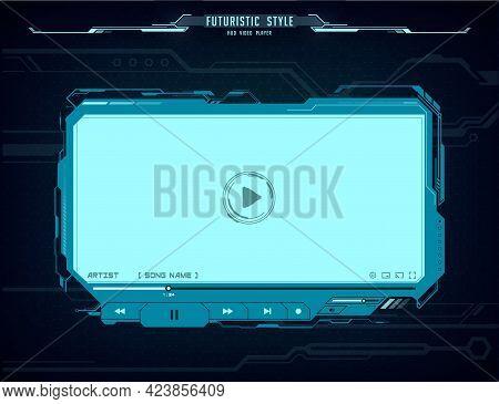 Hud Video Player Futuristic Screen Interface. Vector Neon Glowing Ui, Ux Hi-tech Skin Web Design For