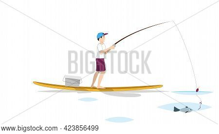 Guy Fishing Standing On Sup Board. Landing Page Illustration
