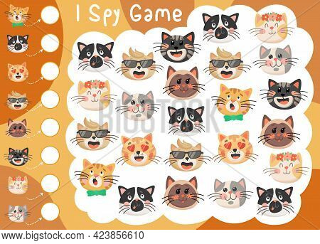 I Spy Kids Game With Cute Funny Cats Or Kittens. Vector Educational Puzzle How Many Cartoon Cats Cha
