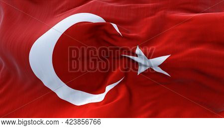 Detail Of The National Flag Of Turkey Flying In The Wind. Democracy And Politics.