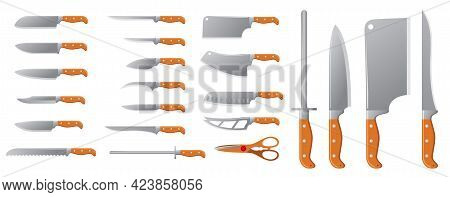 Set Of Realistic Knives Butcher Meat Isolated Or Cooking Equipment Utility Or Sharp Steel Kitchen Kn