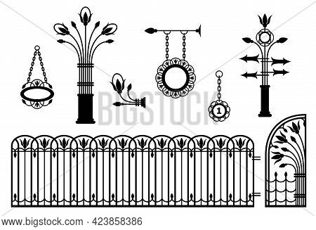 Iron Fence With Gates, Signboards, Pointers And Lanterns. Metal Entrance, Street Lights, Signs In Vi