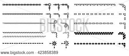 Seamless Decorative Borders And Frame Elements. Set Of Vintage Divider Ornaments. Chains, Ropes, And