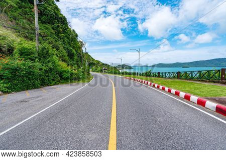 The Asphalt Road Around The Phuket Island Beautiful Seashore In Sunny Summer Day Season Amazing View