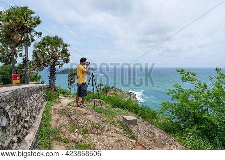 Professional Man Take A Picture Landscape Nature View At Laem Promthep Cape Phuket Thailand Beautifu