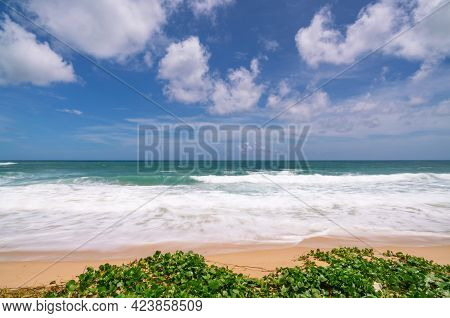 Empty Tropical Summer Beach Background Horizon With Sky And White Sand Beach Wave Crashing On Sandy