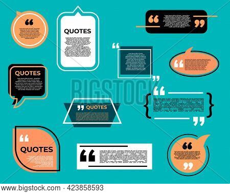 Quote Bubble Or Box, Chat Message, Comment And Note Quote Icons. Vector Speech Balloon, Text Box, In