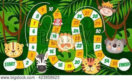 Cartoon Tropical Animals Vector Kids Board Game Or Maze. Start To Finish Dice Boardgame, Roll And Mo