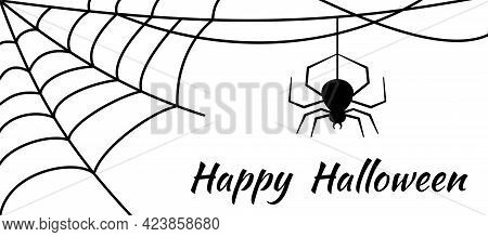 Cobwebs And A Hanging Spider On White Background. Angular Shape. Decorating The Room For The Holiday