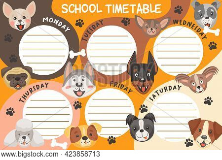 School Timetable Schedule Dogs And Puppies. Education Vector Weekly Planner Template With Cute Carto