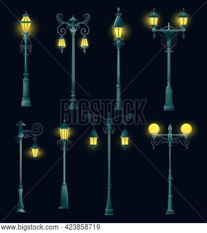 Old Street Light Pillar And Lamppost, Isolated Streetlight And Streetlamp. Vector Vintage Retro Lant