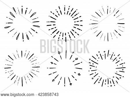 Hand Drawn Set Of Sunburst Shine Ray And Sparkle. Doodle Sketch Style. Circle Burst Of Sun, Star. Ve