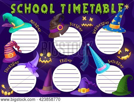 Halloween Kids Education Schedule With Witch Hats. School Timetable Vector Template With Cartoon Wiz