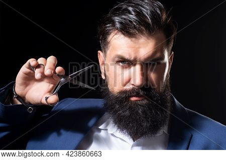Closeup Bearded Man, Portrait Of Man With Long Beard And Moustache. Barber Scissors For Barber Shop.