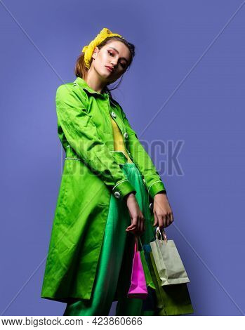 Fashionably Dressed Woman. Fashion Portrait Of Glamour Sensual Young Stylish Lady Wearing Trendy Out