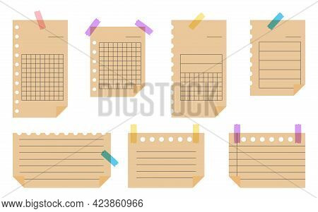 Flat Craft Paper Set. Template Empty Lined Note Paper With Adhesive Tape. Sheet With Different Linea