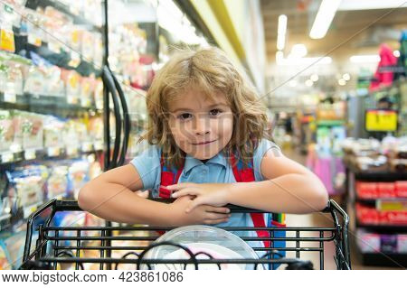 Kid With Shopping Basket Purchasing Food In A Grocery Store. Customers Child Buying Products At Supe
