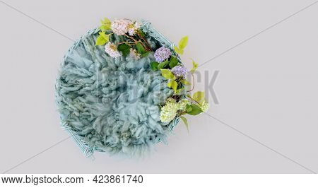 Wooden stylized white furniture basin with blue fur and flowers plants for newborn photoshoot. Designed decoration for infant studio photo isolated on grey background with copyspace
