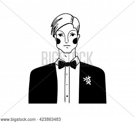 Groom Icon. Linear Drawing Of A Young Man In A Suit, Vintage Illustration, Hand Drawing. Vector Illu