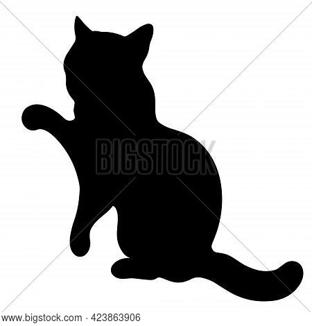 Black Cat Vector Icon. The Pet Sits With Its Paw Raised. The Animal Is Playing. Hand-drawn Silhouett