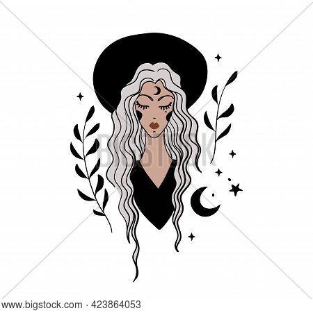 Vintage Woman Portrait, Hipster Girl, Boho Tattoo For Witch. Bohemian Vintage Line Illustration, Fem