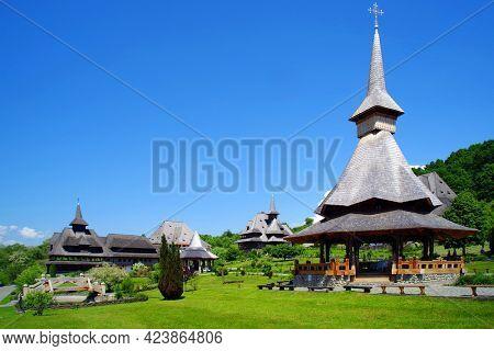 View of Barsana Wooden Monastery site in Maramures County, Romania.
