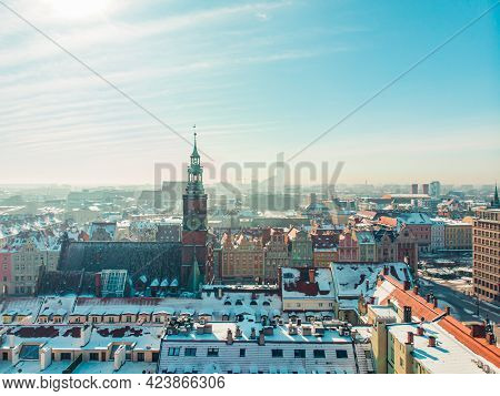 Wroclaw, Poland 02.15.2021 - Central Market Square With Town Hall. Panoramic View Of The City Agains