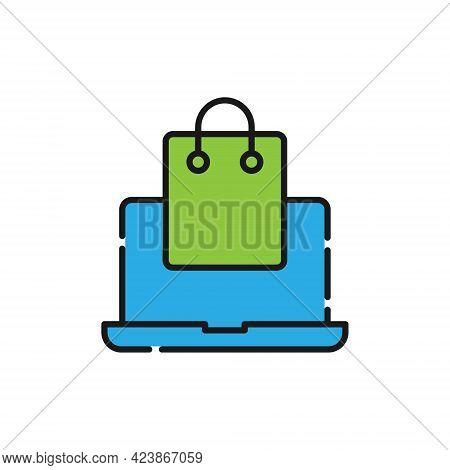 Shopping Bag with Laptop icon. Shopping Bag icon. Shopping icon. Shopping Bag vector icon. Shopping Bag icon vector. Online Shopping icon. Shopping Bag icon logo set. Shopping Bag with Laptop vector icon design for web, logo, sign, symbol, app