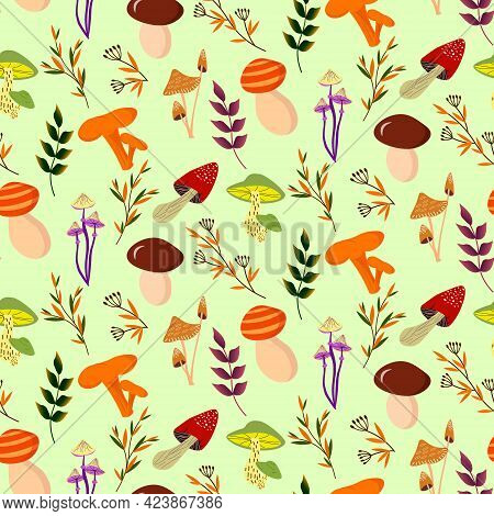 Pattern With Different Mushrooms And Forest Herbs. Vector Illustration On A Colored Background. For