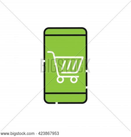 Shopping Cart with mobile phone icon. Shopping Cart icon. Shopping icon. Shopping Cart with mobile phone icon vector. Shopping icon set. Shopping Cart icon. Shopping Cart with mobile phone icon vector design for website, logo, sign, symbol, app