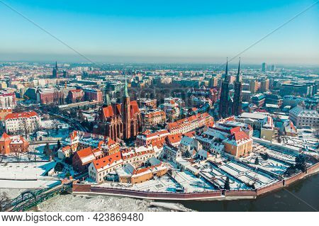 Wroclaw, Poland 02.15.2021 - Panoramic View Of The City Of Wroclaw. City Skyline During The Daytime.