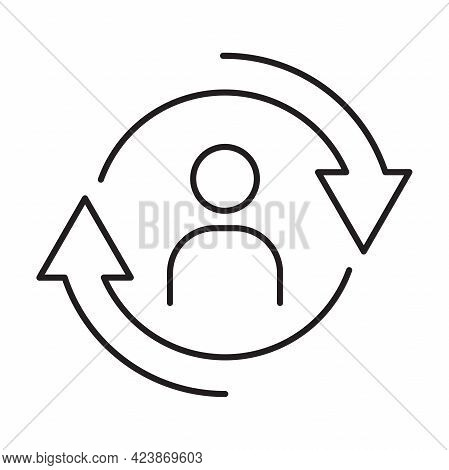Personnel Change Outline Icon Vector People In Round Cycle Symbol Human Resource Concept For Graphic