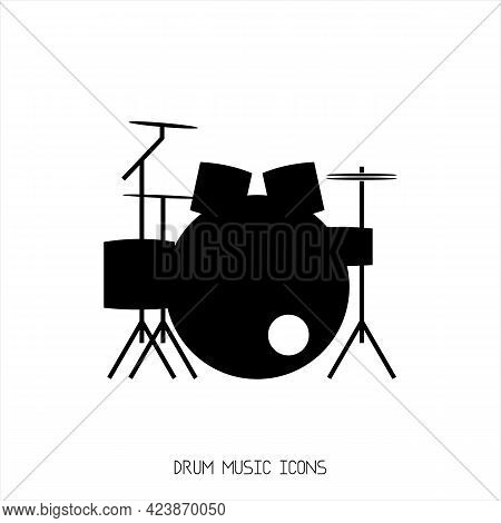 Drums Music Icon Isolated On White Background. Simple Drums Music Symbol. Drums Music Illustration.
