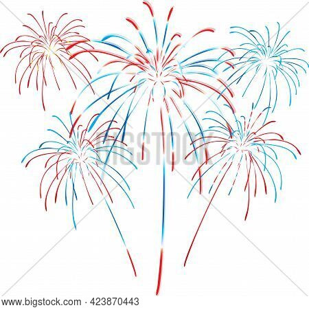 Red White And Blue Fireworks Celebration Graphic Firework