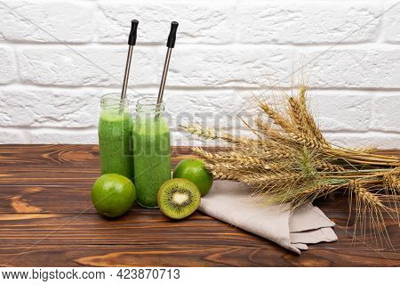 Healthy Smoothie For Breakfast. Raw Green Smoothie Drink. Refreshing Summer Green Smoothie Or Milksh