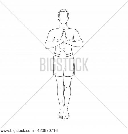 Meditating Yogi Man In Pranamasana. Hatha Yoga Prayer Pose. Engraved Vector Illustration Isolated In