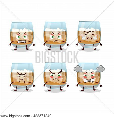 Rum Drink Cartoon Character With Various Angry Expressions