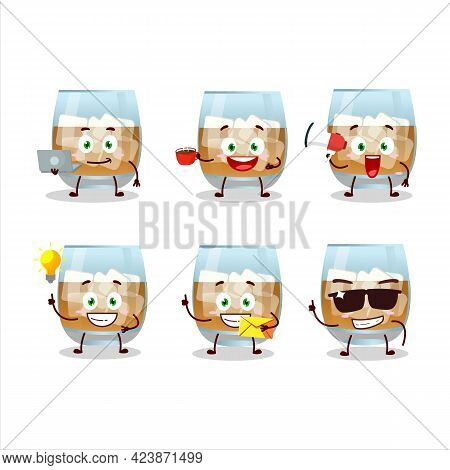 Rum Drink Cartoon Character With Various Types Of Business Emoticons