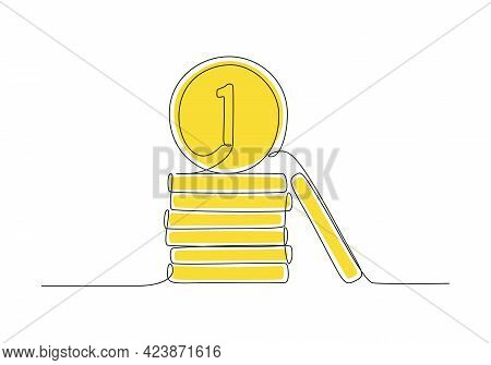 Money Coins In One Continuous Line Drawing. Penny Cents Yellow Color In Doodle Style. Vector Illustr