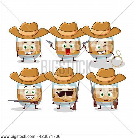 Cool Cowboy Rum Drink Cartoon Character With A Cute Hat