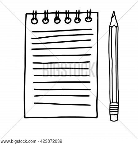 Hand Drawn Doodle Sketch Style Vector Illustration Of Spiral Paper Notepad With Lines With Space For