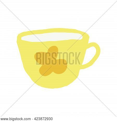 Tea Cup With Flower Hand Drawn In Trending Color 2021. Scandinavian Hygge. Cozy Home