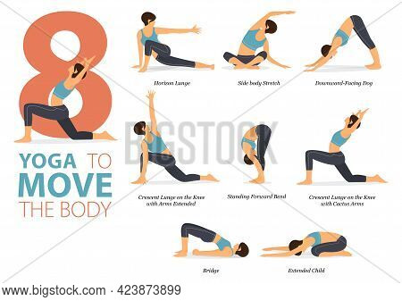 Infographic 8 Yoga Poses For Workout At Home In Concept Of Yoga To Move Body In Flat Design. Women E