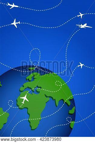 International Flights Or Cargo Transportation On Blue Background. Lines Of Flights Around The Globe.